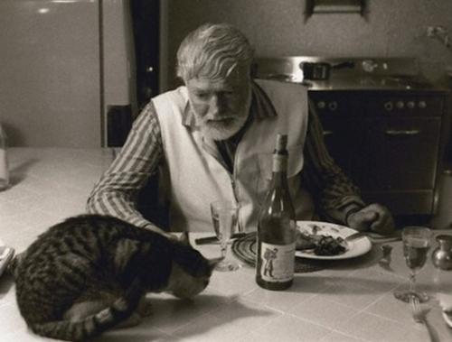 """Ernest Hemigway, escritor y Premio Nobel estadounidense, autor de """"El Viejo y El Mar"""" y """"Adiós a las Armas"""", come en compañía de su gato."""