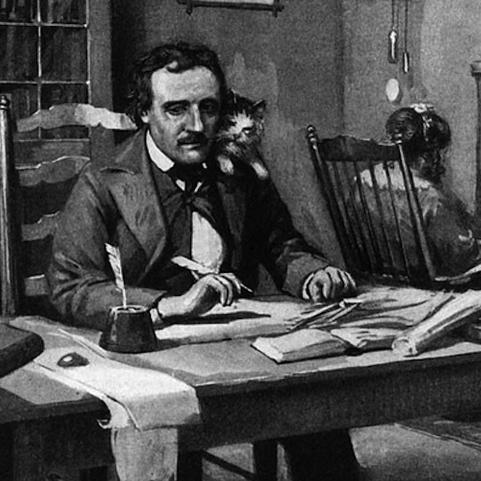 """A Edgar Allan Poe también le encantaban los gatos. Él escribió una historia de terror llamada: """"El Gato Negro"""" (""""The Black Cat"""").  Dibujo de Charles Smeldon."""