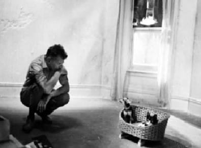 """Samuel Beckett, autor de """"Waiting for Godot"""" (""""Esperando a Godot""""); observa a sus gatos, en la cesta."""
