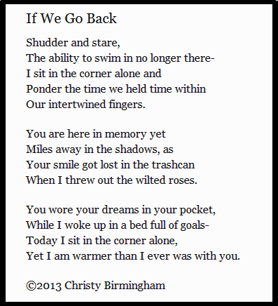 """If We Go Back"". By Christy Birmingham. At Poetic Parfait.-"