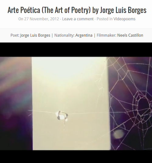 "Videopoems: ""The Art of Poetry"", by Jorge Luis Borges."