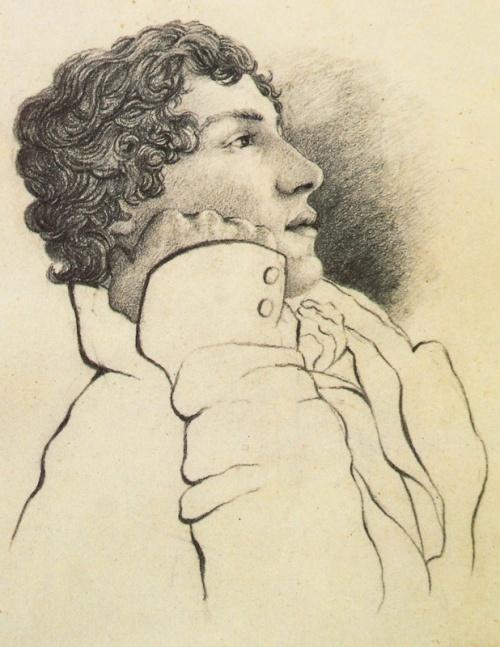 """John Keats (1795/1821).- Retratado por  Charles Brown en 1819. Contratapa  del libro """"John Keats"""", de Woof y Hebron,-"""