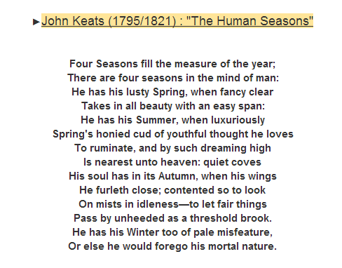 """The Human Seasons"" by John Keats. Click on the Poem to read its analysis.-"