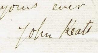 John Keats´s signature.-