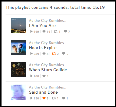 Click on the image above to listen to the playlist.. As The City Rumbles Underneath at Soundcloud.-