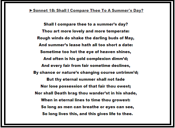 the universal theme of eternal transcending love in sonnet xviii by shakespeare and how do i love th