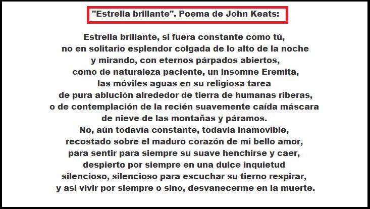 """John Keats: """"Bright Star"""" (Sonnet) / """"Estrella Brillante"""" (Soneto ..."""