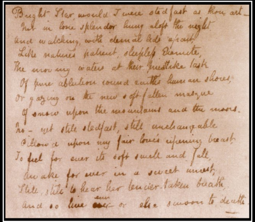 This famous sonnet was written by Keats in his copy of 'The Poetical Works of William Shakespeare' (1819).-