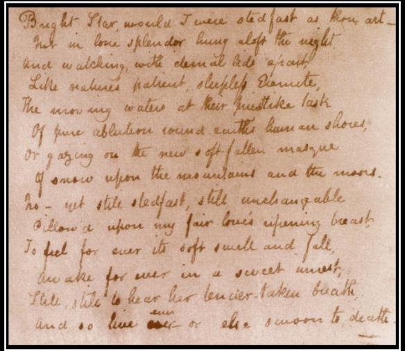 John Keats Bright Star Sonnet Estrella Brillante