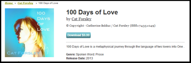 "Click on the image to purchase the book.  If You mouse over the individual pieces on CDBaby, You can hear Previews of ""100 Days of Love"".-"