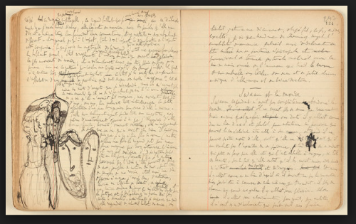 "Some of Proust's notes for ""Swann's Way,"" with doodles. Click on the image to read the article.-"