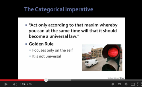 Explain Kant's Categorical Imperative and how he thinks it determines the morality of an action?