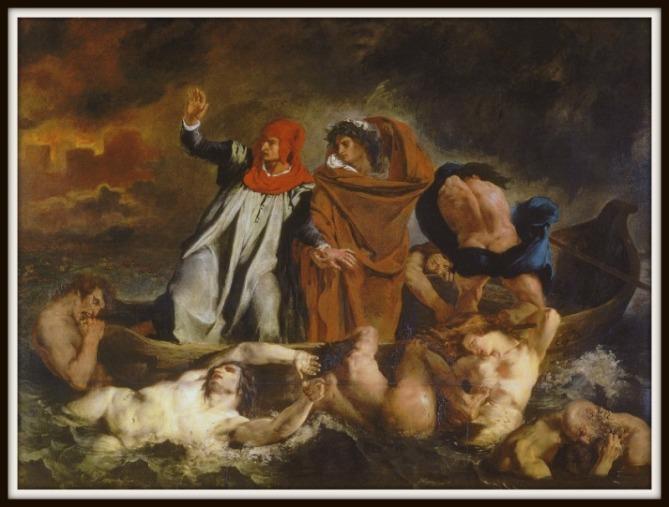 """""""Barque of Dante"""" by Eugene Delacroix . Musée du Louvre.-"""