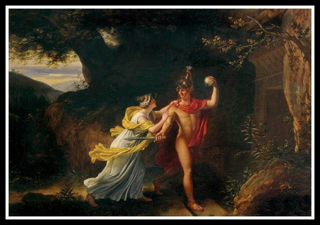 """Ariadne and Theseus"" by Jean-Baptiste Regnault.-"