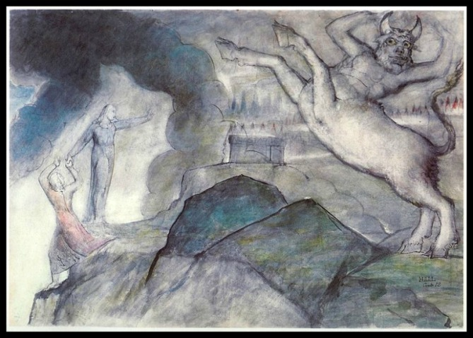 """Dante´s  Hell XII"", by William Blake.-"