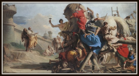 "Building of the Trojan Horse"" by Giandomenico Tiepolo (1774).-"