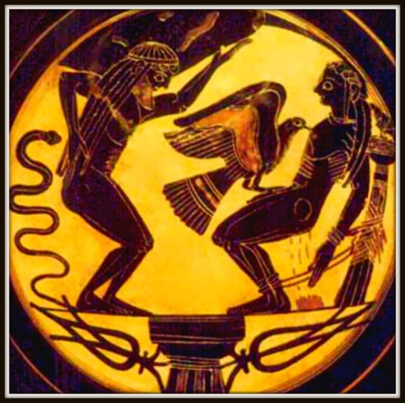 """The Titans Prometheus and Atlas"". Greek Vase, dated 500 BC. Laconian black figure."