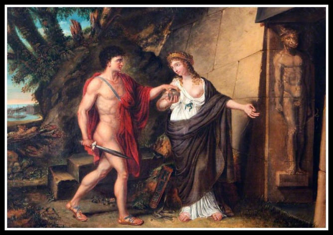"""Theseus and Ariadne at the Entrance of the Labyrinth"" by Richard Westall (1810).-"