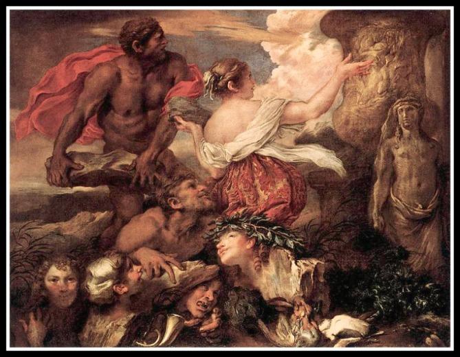 """""""Pyrrha and Deucalion"""" by  Giovanni Benedetto Castiglione (1655)"""