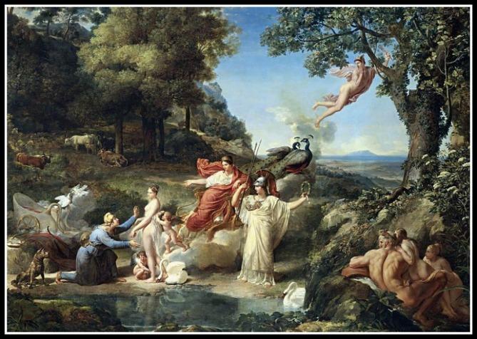 """The Judgment of Paris"" by Guillaume Guillon Lethière (1812).-"