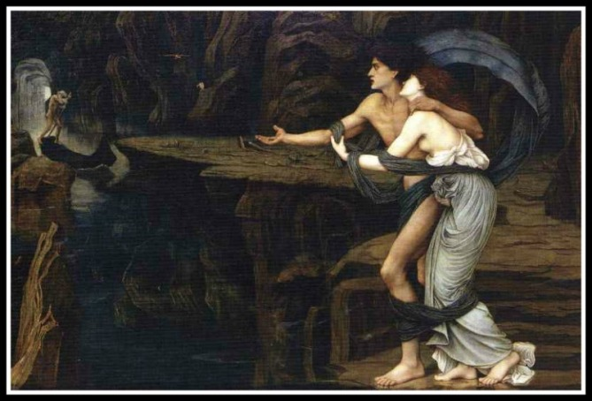 """Orpheus and Eurydice"" by John Roddam Spencer Stanhope.-"