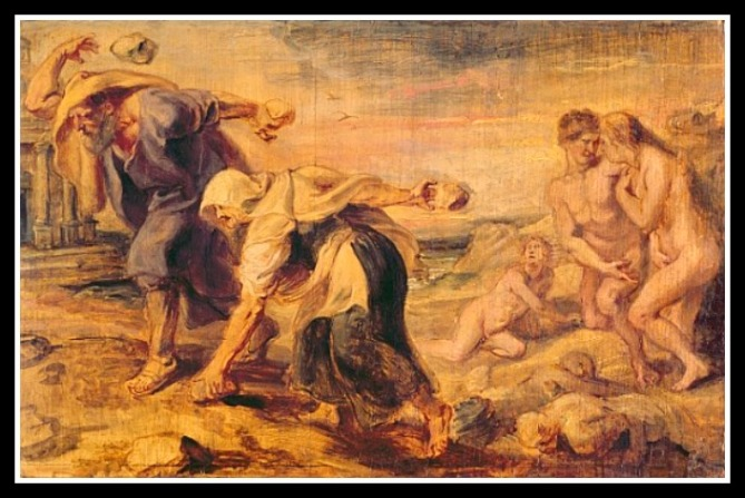 """Deucalion and Pyrrha Repeople the World by Throwing Stones Behind Them"", by Peter Paul Rubens (1636).-"
