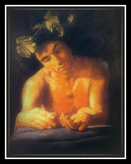 """Dionysus drunk by Tsarouchis (1972).-"