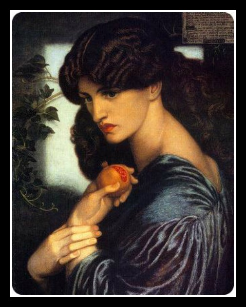 """Proserpine"" (three-quarter portrait holding a pomegranate), by Dante Gabriel Rossetti (1874).-"