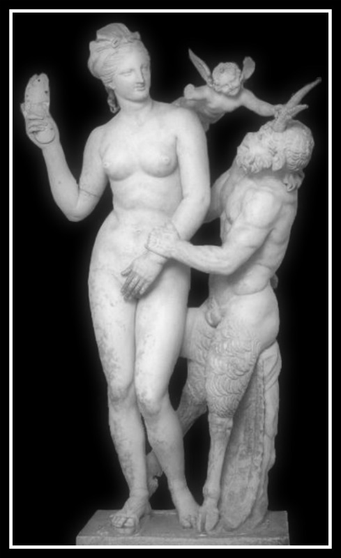 Aphrodite (Venus), Pan, and Eros. Circa 100 BC. (Hellenistic Period). National Archaeological Museum of Athens. Found at Delos.-