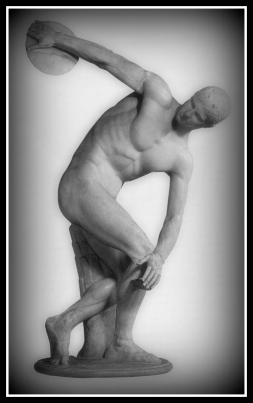 Discobolus (discus-thrower) by Myron. Nude male discus-thrower. Roman copy of 460-450 BCE bronze original. British Museum-