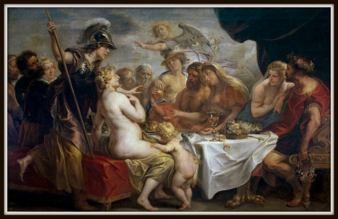 """Golden Apple of Discord"" by Jacob Jordaens (1633).-"