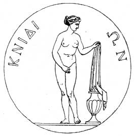 Engraving of a coin from Knidos showing the Aphrodite of Cnidus, by Praxiteles.