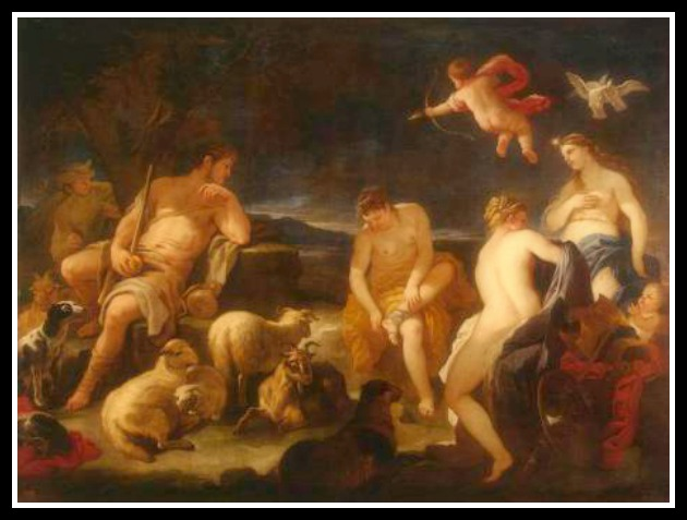 """The Judgment of Paris"" by Luca Giordano (1681-1683).-"