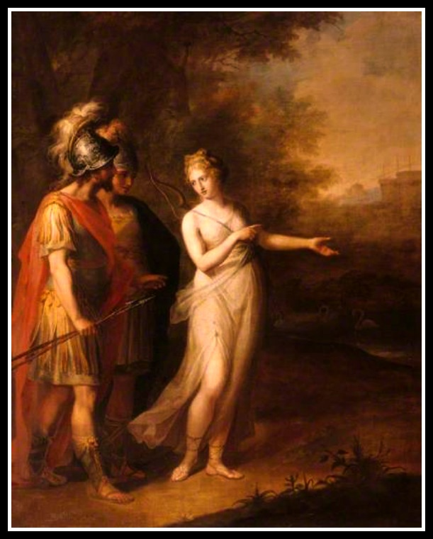 """Venus Directing Aeneas and Achates to Carthage"" by  Angelica Kauffmann (1768).-"
