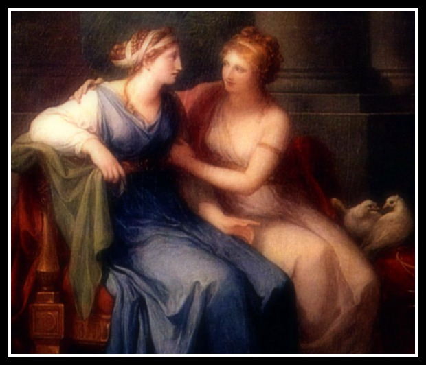 """Venus convinces Helen to go with Paris"" by Angelica Kauffman (1790).-"