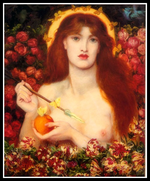 """Venus Verticordia"" (""Venus the Changer of Hearts"") by Dante Gabriel Rossetti (1868).-"