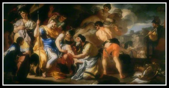 """Venus with Iapis Tending the Wounded Aeneas"" by Francesco Solimena (1695).-"