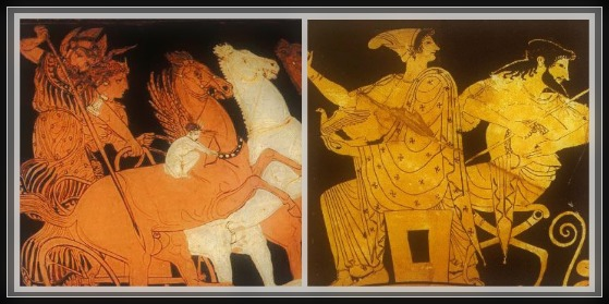 Amphora;s details. On the Left: Ares casts a spear at a Gigante from his chariot, driven by the goddess Aphrodite, while Eros aims his bow. On the Right: Aphrodite with doves  and her lover Ares. Period: Late Classic (400/350 BC).