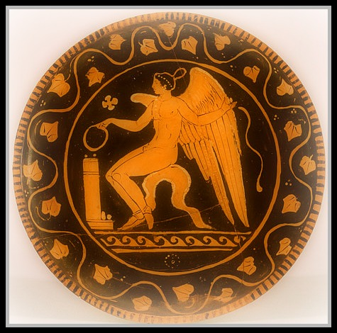 """Red-Figure Plate with Eros"" by Ascoli Satriano (Dated 340-320 BC). Walters Art Museum, Baltimore."