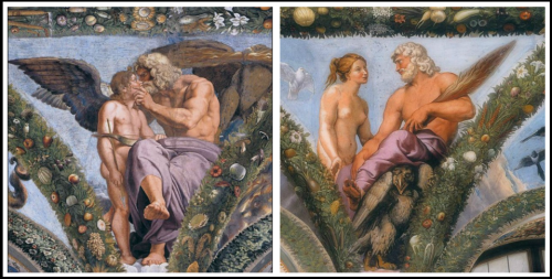 Cupid and Jupiter (on the left). Psyche and Jupiter (on the right).