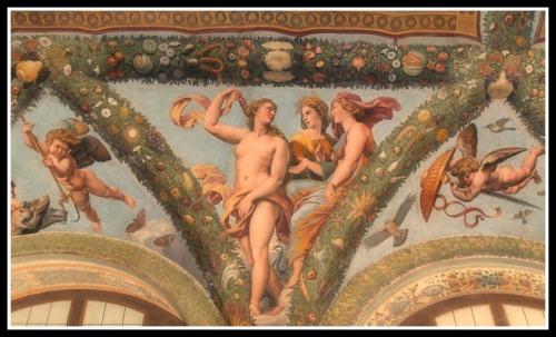 Venus (Aphrodite), Ceres (Demeter) and Juno (Hera) by Raphael with Giovanni da Udine's collaboration.
