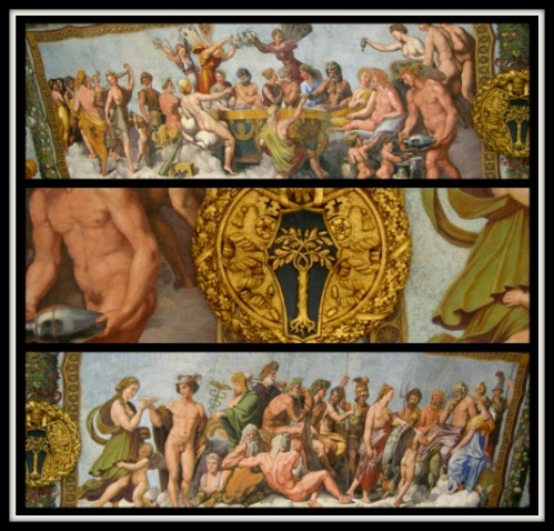 """Wedding Banquet of Cupid and Psyche"" and ""The Council of the Gods"" (Detail). By Rapahel and collaborators (1517-18)."