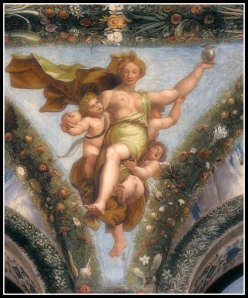 Psyche Brings a Vessel up to Venus/Aphrodite by Giulio Romano (1517-18).