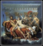 """""""Mars disarmed by Venus and the Three Graces"""" by  by Jacques-Louis David(1748-1825)."""