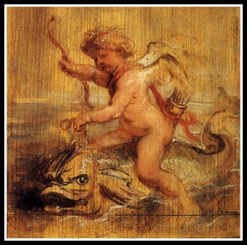 """Cupid riding a Dolphin"" by Peter Paul Rubens ("