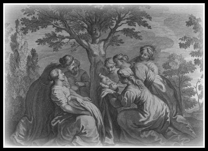 """The Birth of Adonis"".  Engraving by Bernard Picart for Ovid's ""Metamorphoses"", Book X, 476-519."