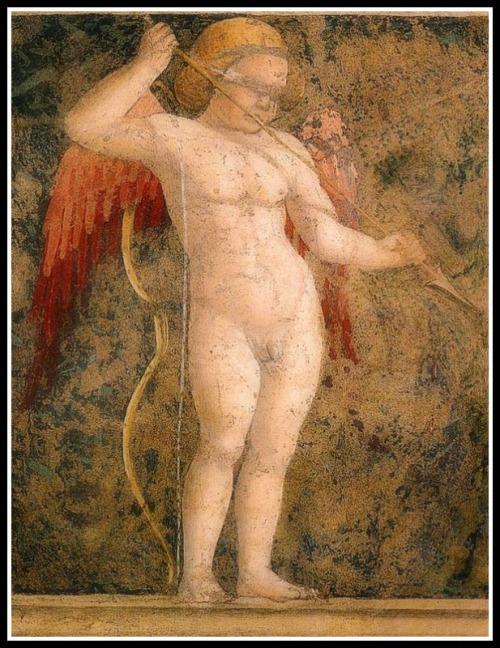 """Blindfolded, armed Cupid"" by Piero della Francesca (1452/66)."