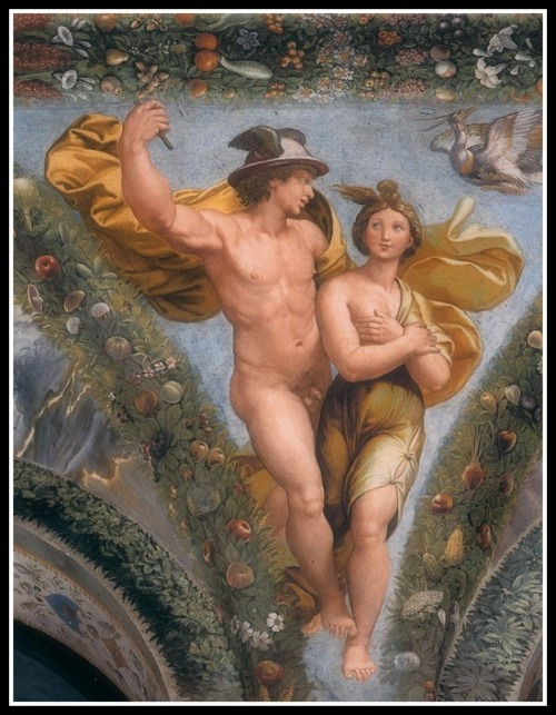 """Mercury Brings Psyche up to Olympus"" by Raphael and collaborators (1517-18)."