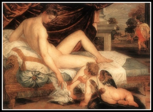 """""""Venus and Cupid"""" by Lambert Sustris (1560).  In this painting, Venus (Aphrodite) is stroking some doves (her attributes) in the presence of her son Cupid (Eros) as she awaits his lover Mars (or Ares in the background, right) who is on his way to join her."""