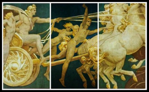 """Apollo in His Chariot with the Hours"" (Details) by John Singer Sargent (1922-25)."